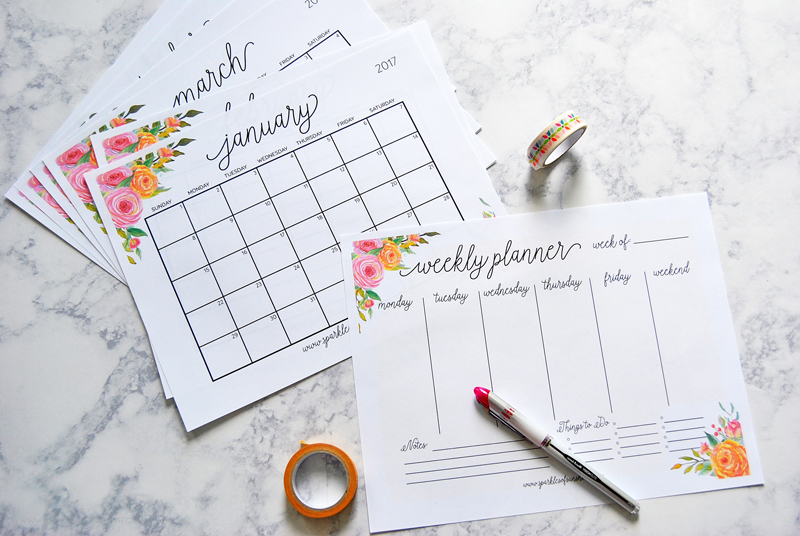 Free-Printable-2017-Monthly-Calendar-and-Weekly-Planner-1